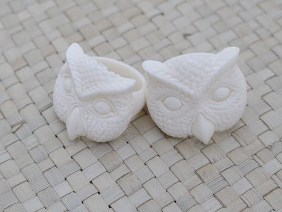 Owl Face Bone Ring Bali Bone Carving Jewelry Bali Unique Handmade Jewelry