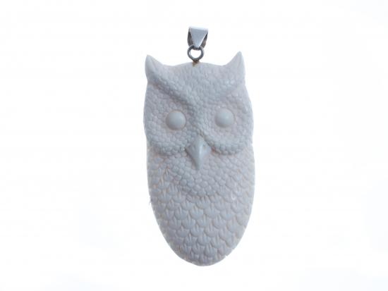Owl Face Bone Pendant Beautiful Bone Pendant Bone Carving Bali Unique Handmade Jewelry